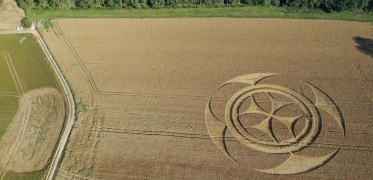 Símbolo gigantesco em campo de trigo atrai atenção de curiosos na França.