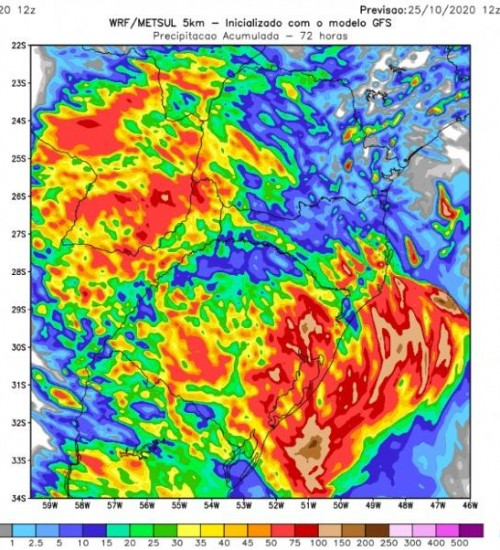 Metsul alerta para temporais isolados no sul do Brasil.